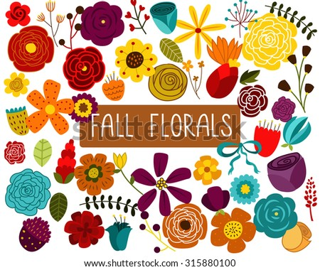 Fall Floral Design Elements Vector  - stock vector