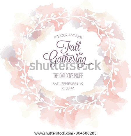 Fall gathering invitation template watercolor wreath stock vector fall gathering invitation template with watercolor wreath vector stopboris Image collections