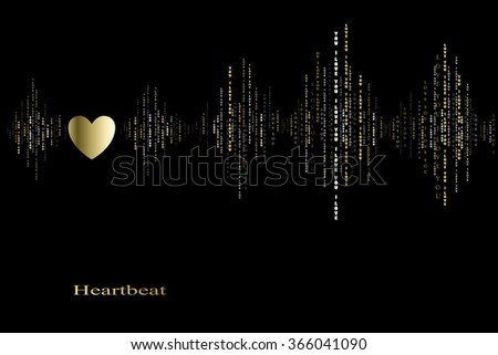 Fall in love gold heart beat cardiogram design. Vertical sound waves rhythms with i love you text. Black gold valentines love card background Heart in love song design background Vector illustration - stock vector