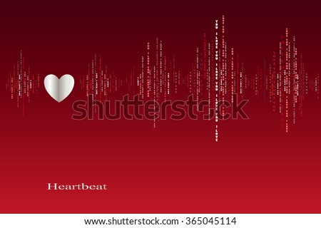 Fall in love heart beats cardiogram design. Vertical sound waves rhythms with i love you text. Red valentines love card background. Heart in love song design background. Vector illustration