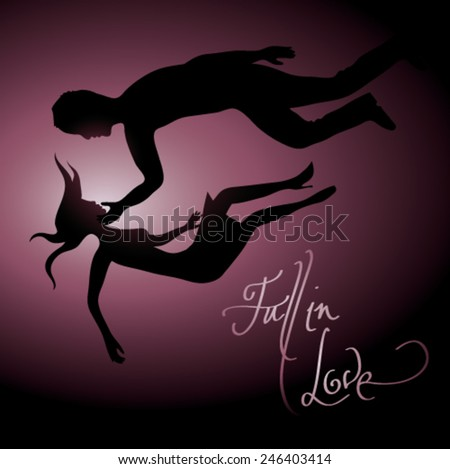 FALL IN LOVE / Silhouette of couple in love  - stock vector