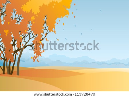 Fall landscape. Vector  of  trees with orange and yellow leaves at autumn landscape. - stock vector
