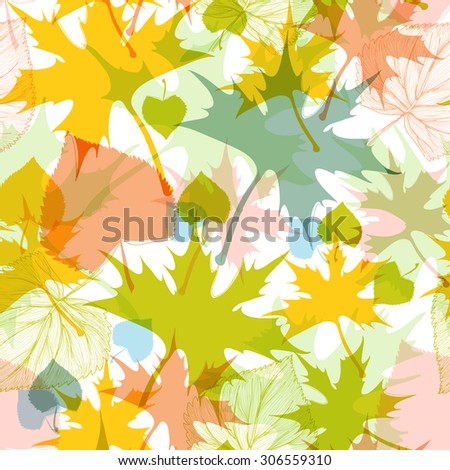 Fall leaves seamless pattern - stock vector