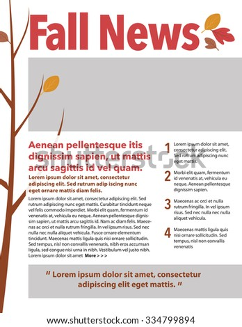 Fall news newsletter with fall foliage on tree branch