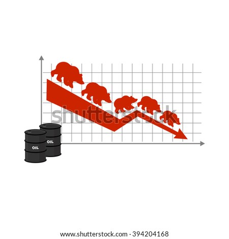 Fall of oil. Oil quotations. Barrel of oil. Red down arrow. Bears are coming down. Lowering rates. Business graph for traders. Traders bears players on exchange market - stock vector