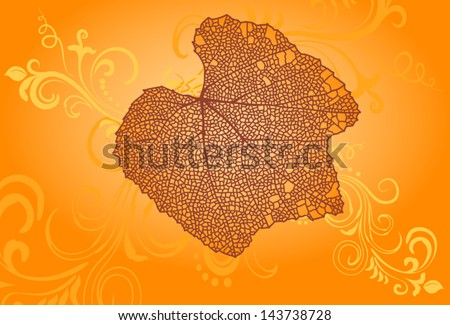 Fall orange floral ornament with big leaf with veins. - stock vector