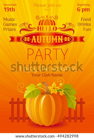 Fall party poster. Vector banner illustration. Autumn thanksgiving festival invitation with elegant holiday pumpkin symbol. Harvest seasonal festivities design.