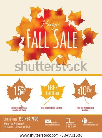 Fall Sale flyer with watercolor Fall Leaves - stock vector