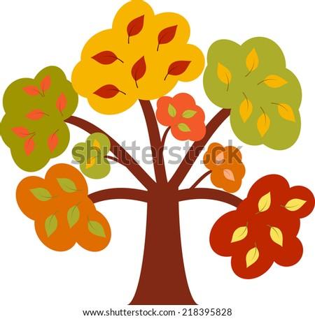 Fall Tree, Multicolored Fall Tree, Tree Vector  - stock vector