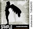 Fallen Angel Flyer, Vector brochure style with an winged girl over a grunge background - stock photo