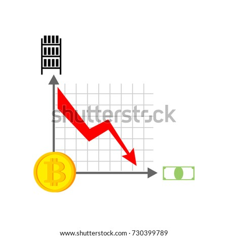 Falling Bitcoin Graph Decrease In Cryptocurrency Virtual Money Vector Illustration