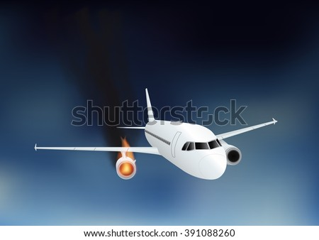 Falling damaged plane in fire. Vector illustration