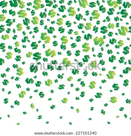 Falling dollars seamless background. Vector illustration with a clipping mask. - stock vector