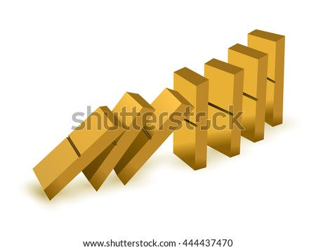 Falling dominoes. Gold Icon game of dominoes. Board game Domino. Domino icon vector for web. Push domino. - stock vector