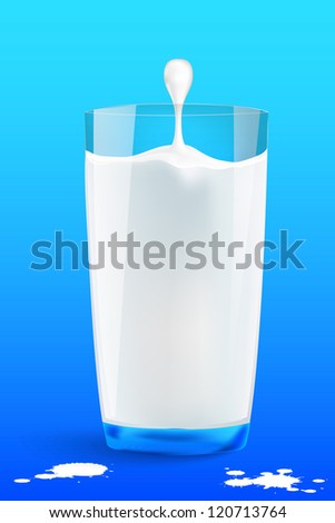 falling drops in a glass of milk - stock vector