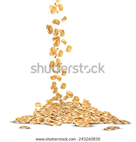 falling five marked golden coins. - stock vector