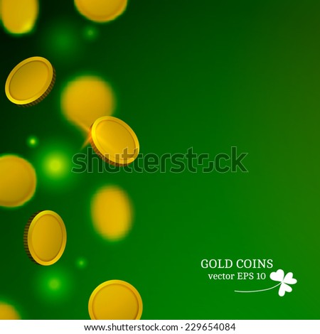 Falling gold coins background. Vector illustration.  - stock vector