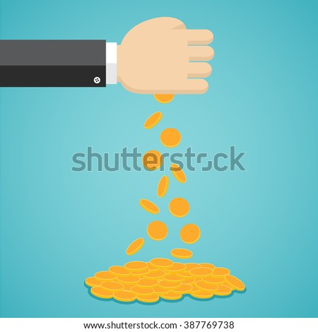 Falling gold coins from businessman hand in flat design.