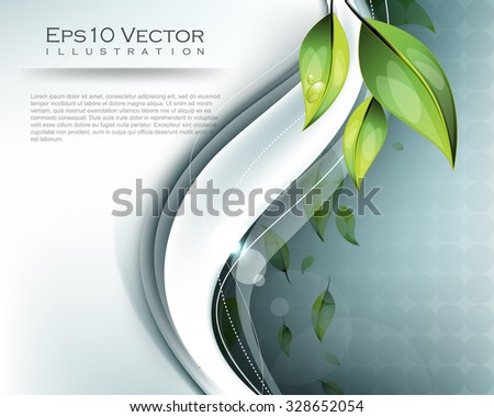 falling green leaves elements with wave design nature elegant background illustration - stock vector