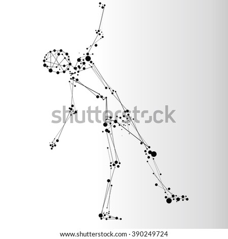 Falling human consisted of dots and lines - stock vector