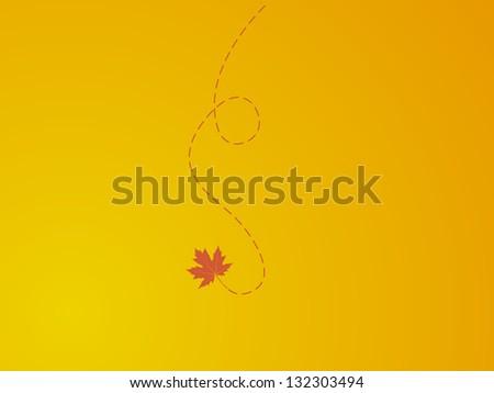 falling leave on orange background - stock vector