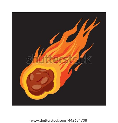 Falling meteorite icon in cartoon style on a white background - stock vector