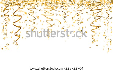falling oval confetti and ribbons with gold color - stock vector