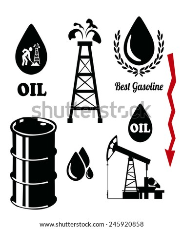 falling prices of oil and fuel , set on color background