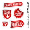 Falling Prices stickers set. - stock vector