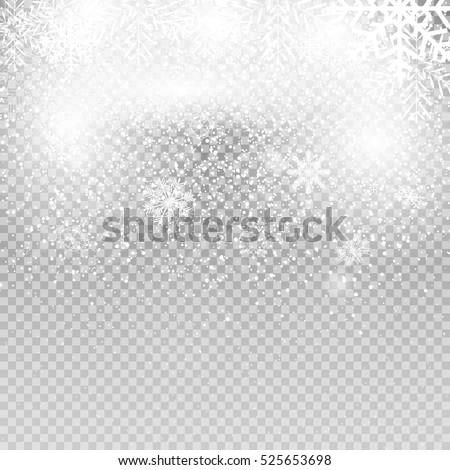 Falling Shining Snowflakes and Snow on Transparent Background. Christmas, Winter and New Year Background. Realistic Vector illustration for Your Design. EPS10