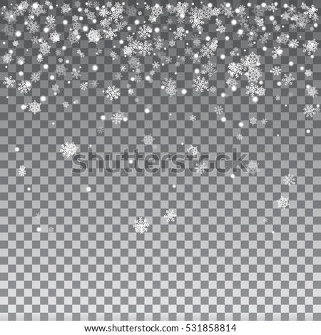 Falling Shining Snowflakes and Snow on Transparent Background. Christmas, Winter and New Year Background. Abstract snowflake background. Vector illustration.