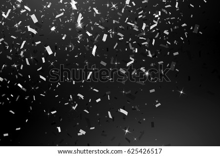 Falling Shiny Glitter silver Confetti isolated on black background. Christmas or Happy New Year Confetti. Vector confetti rain festive background for the card, invitation. Decorative element.