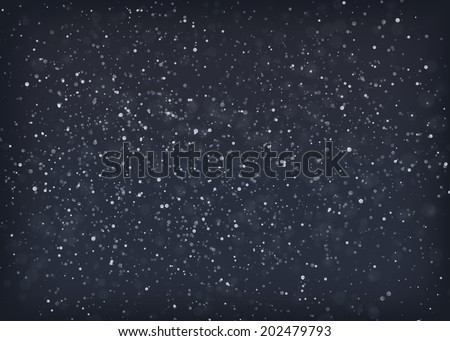 Falling snow at night. EPS10 vector background.