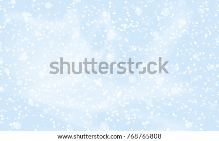 Falling snow background. Holiday landscape with snowfall. Vector illustration. Winter snowing sky. Eps 10.