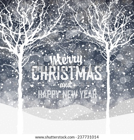 Falling Snow. Christmas Background with Greeting Text  - stock vector