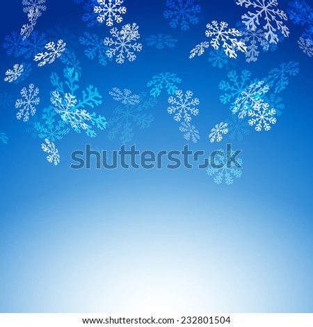 Falling snow flakes new christmas card - winter greetings pattern. Vector illustration - stock vector