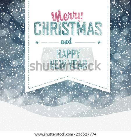 Falling Snow. Merry Christmas Background - stock vector