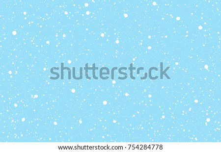 Falling snow on a light blue background. Vector illustration