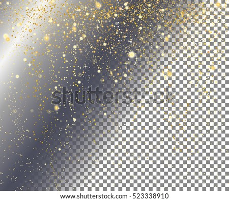 Falling snow on a transparent background. Abstract gold glittering star dust background.