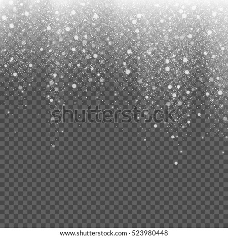 Falling snow on a transparent background. Vector illustration