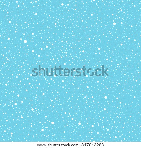 Falling snow vector seamless pattern. White splash on blue background. Winter snowfall hand drawn spray texture.