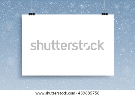 Falling snow vector. White splash on blue background. Winter snowfall hand drawn spray texture.