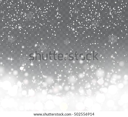 Falling snow with snowflakes on transparent background. Winter snowfall. Holiday Lights Happy New Year and Merry Christmas.