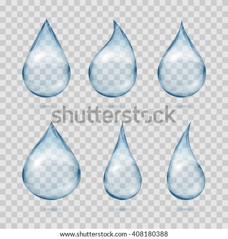 Falling transparent water drops. Water dew drops or rain drops on plaid background vector set - stock vector