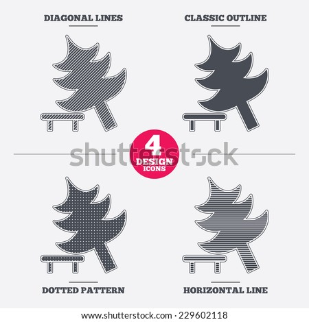 Falling tree sign icon. Caution break down christmas tree symbol. Diagonal and horizontal lines, classic outline, dotted texture. Pattern design icons.  Vector - stock vector