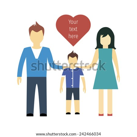 falmily, man, woman and shild with heart, love, flat style isolated. vector illustration - stock vector