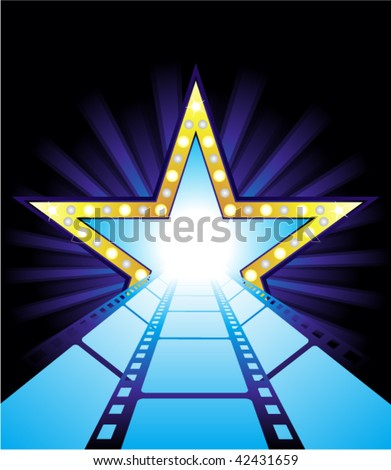 Fame star at the end of film road - stock vector