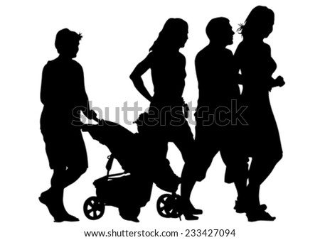 Families with child and carriage on white background - stock vector