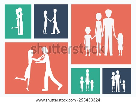 Familiy, desing over colors background, vector illustration. - stock vector
