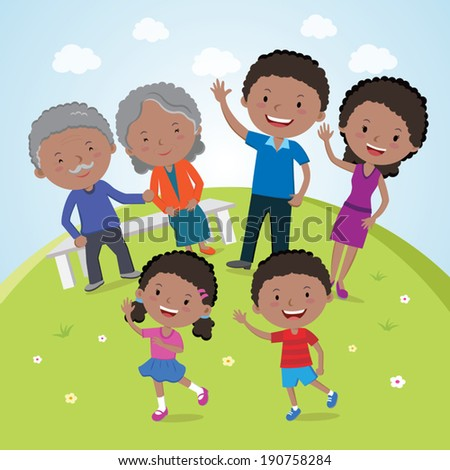 Family. A happy family portrait of Parents, Grandparents and Children are having outdoor activities. - stock vector